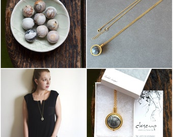 Sale, Jasper Pendant necklace, Long gold necklace, Gemstone necklace, Bijoux, Boho Necklace, Jasper pendant, Gift for mom