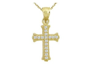 14K Gold and Diamond Cross Necklace, Small Cross, Dainty Chain and Charm, Diamond, Gold, Gift