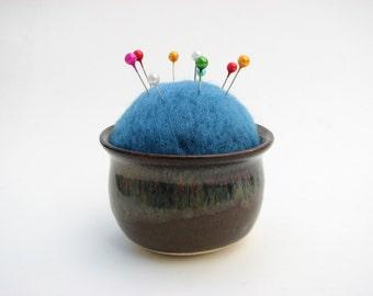 Needle Felted Pin Cushion in Handmade Ceramic Pot