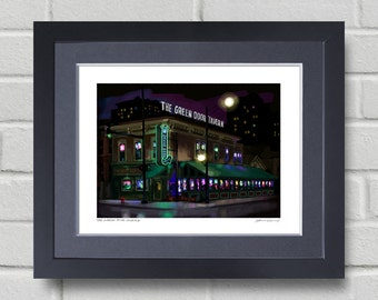 Chicago art - Green Door Tavern - Painting of Chicago bar at night.