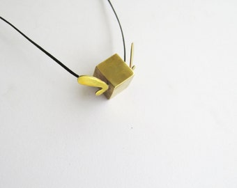 Cubed hearted pendant, minimalistic geometric abstracted jewel