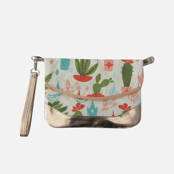 Cactus and birds  Rose gold Handmade  Clutch cross body purse wristlet handbag shoulder bag evening bag