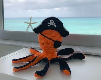 Pirate Octopus Stuffed animal / Crochet Octopus / Kawaii Octopus / Baby Shower Gift / Crochet Nautical Nursery