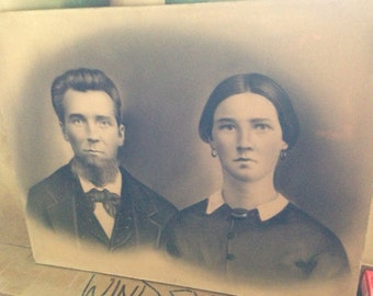 Vintage Charcoal Enhanced Photograph of a Married Couple From Late 1800s Early 1900s
