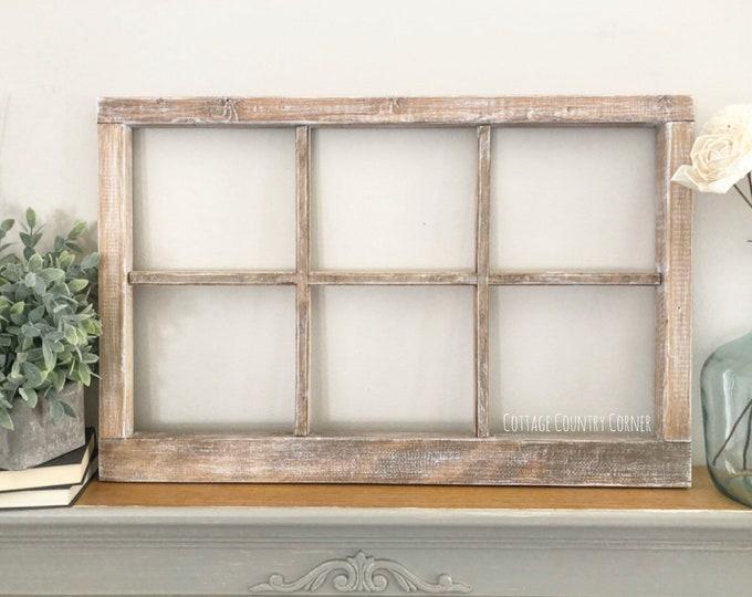 "Thick 6 Pane Window Frame 32"" x 21"" - Window Frame Wall Decor - Farmhouse Decor - Modern Farmhouse Decor - Faux Window - Antique Window"