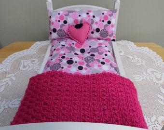 Minnie Polka Dots  ~ 18 Inch Doll Bedding Set made for American Girl Our Generation Dolls