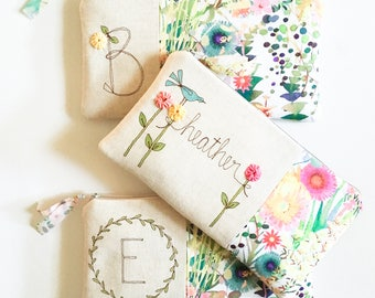 Bride Gift, Gift for Bride, Bridal Shower Gift, Gift for Her Bride Gift Ideas Personalized Monogram Wedding Floral Clutch More Colors