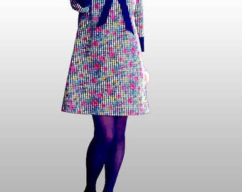 Trapeze style 70s dress in cotton 3/4 sleeve thick tile printed gingham floral collar Claudin