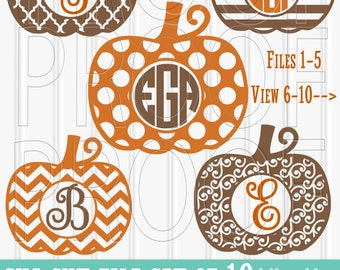 Pumpkin SVG Files Set of 10 (+1) cut files includes svg/png/jpg formats! Commercial use approved! monogram svg pumpkin {no letters included}