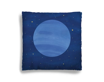 Pillow Cover - Decorative Children's Throw Pillow from Hand Painted Images - Planet Neptune in Outer Space Theme 16x16 18x18 20x20 or 24x24