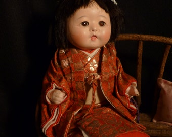 REDUCED Vintage Composition Japanese Doll Japan 9 1/2""