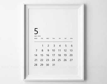 Minimalist Monthly Calendar Printable, Black And White Fine Year 2018, 12 Months Calendars Prints, Simple Planner Pages, Digital Download.
