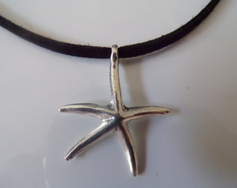 Silver plated starfish choker
