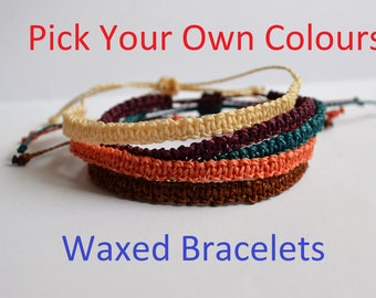 Custom Waxed Linhasita Waterproof Square Knot Bracelet