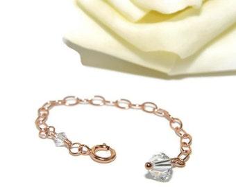 Rose Gold Necklace Extender, 14K Rose Gold Filled, Rose Gold Jewelry, Swarvoski Crystals, Handmade, Custom Length