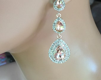 sale Rose gold rhinestone and rose gold colored crystal dangle earrings, beautiful holiday party earrings