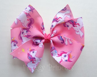 Pony Bow - Pink Pinwheel - No Slip Velvet Grip Hair Clip