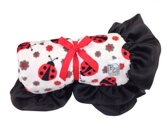 Ladybug Stroller Blanket Red/Black/Gray