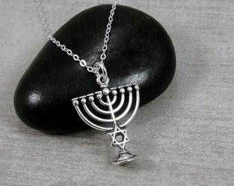 Sterling Silver Menorah Necklace, Menorah Charm, Menorah Pendant, Judaism Jewelry, Hanukkah Gift Jewelry