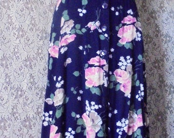 Blue floral dress  vintage summer frock cotton 90s does 40s small  from vintage opulence on Etsy