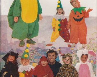 Children's Costume Pattern Dinosaur Clown Bunny Witch Devil Toddlers and Childrens Sizes 1 - 6  Uncut  Butterick 5142