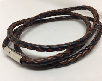 Braided Leather Bracelet Two Tone