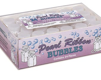 24pc Pearl Ribbon wedding bubbles, affordable wedding bubbles, wedding bubble favors, wedding bubble table scatter (#95239)