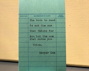 Harper Lee Typewriter Quote on Vintage Due Date Card