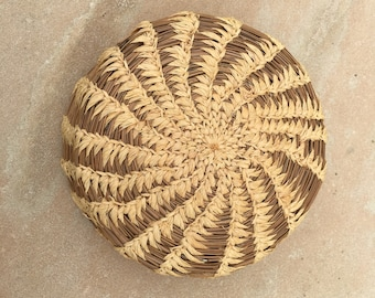 Vintage Woven Pine Needle and Sweet Grass Basket Small Native Basket