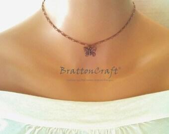 Copper Butterfly Choker - Butterfly Choker - Copper Butterfly Charm Jewelry - Insect Jewelry - Copper Monarch Butterfly