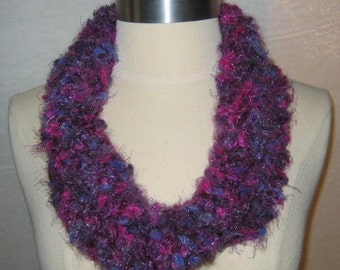 Plush Purples and Magenta Neck Warmer Cowl Scarf