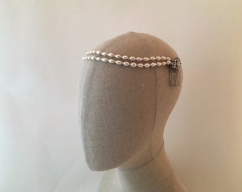 Freshwater Pearl Wedding Headband, Pearl Bridal Headpiece, Wedding Pearl Headband, Boho Wedding Headband, Boho Headpiece, 1920's Headband