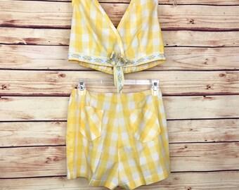 ladies vintage womens yellow plaid 2 piece shorts top set