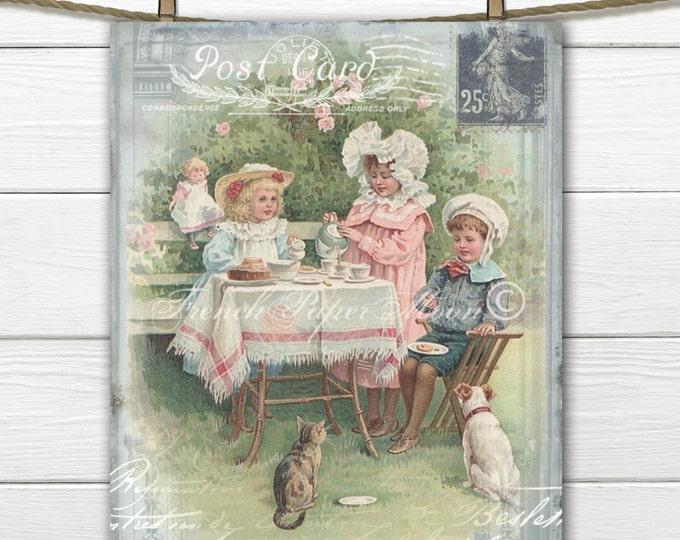 Digital Vintage Tea Party, Children's Tea Download, Victorian Tea Collage, Postcard Digital Image, French Fabric Transfer Graphic
