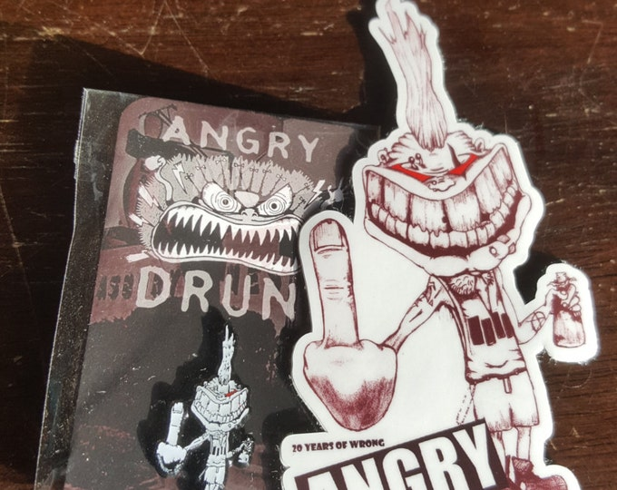 Featured listing image: Angry Drunk Punk combo pack! Glow in the dark hat pin and large vinyl sticker.