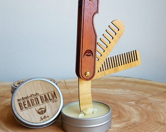 Multi-tool Beard Comb with Balm Knife - Folding Wood Pocket Travel Grooming Comb Made of Sustainable Bamboo and Handsome Hardwood - The Trio