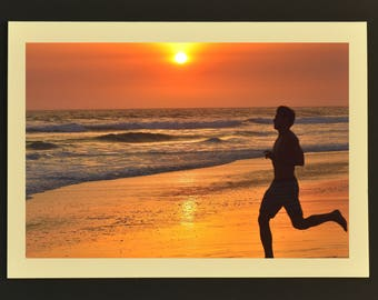 Photo Note Card, Sunset Run, Sunset Beach Photo, Photo Greeting Card, Beach Note Card, Note Card with Envelope, Handmade Note Card