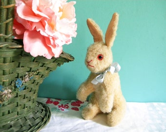Vintage Easter Bunny Rabbit Plush Sawdust Filled with Glass Eyes Sitting Up Japan
