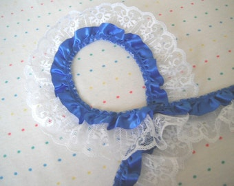 "Royal Blue Satin and White Lace Ruffle Trim, 2"" Wide"