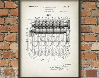 Adding Machine Patent Print - Accountancy - Accounting - Book Keeping - Mathematical Calculation Instrument - Calculator Technology