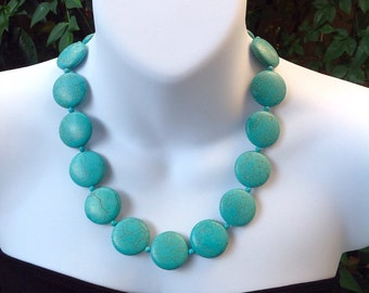 Turquoise Necklace. Turquoise Coin Necklace. Round Turquoise Necklace. Western Necklace.