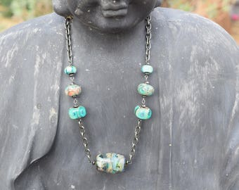 Handblown glass bead and chain necklace