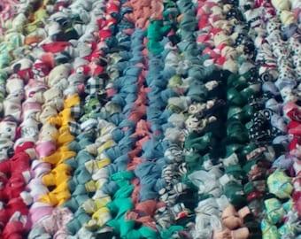 Oval Crocheted  Multi Color Rag Rug
