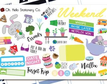 Large Sticker Sampler Set  - Planner Stickers for Erin Condren Life Planners - D5