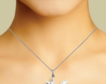 Sterling Silver Bat Necklace With Colored CZ