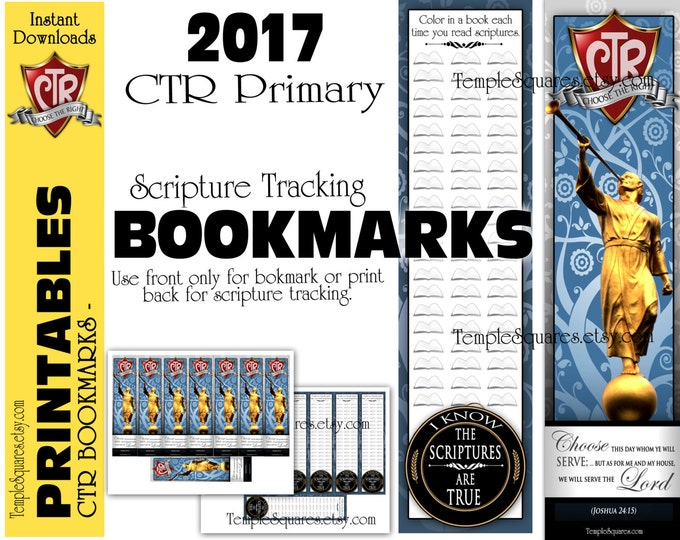 Printable CTR Primary Bookmark Choose The Right Scripture Tracker - Bookmark on Front - Track your scripture reading on back.