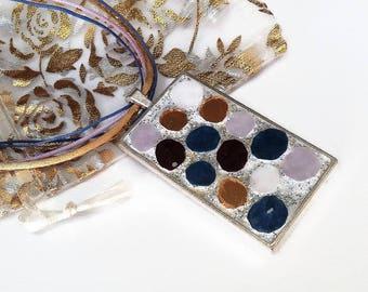 Bubble mosaic spring blue purple gold necklace