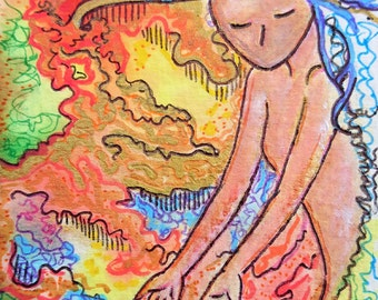 ACEO.Card.Little art.Womanhood art.Aceo card.Divine feminine.Affordable art.Gioia Albano.Immortal.Healing art.Wakefullness.Life.Immortal Art
