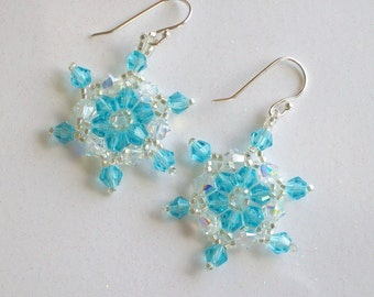 FROZEN Snowflake Earrings - Snow - Aqua Blue and Clear AB Swarovski Crystals - Hand Stitched