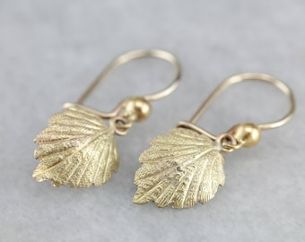 Art Nouveau Green Gold Drop Earrings with Textured Leaf Dangle KZTMZ2-P